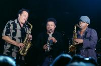 On stage with Donny Osmond and my homie Jason Peterson DeLaire. Who knew Donny played sax?!