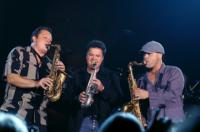 "On stage with Donny Osmond and my homie Jason Peterson DeLaire. Horn trio jammin' Stevie Wonder's ""I Wish""."
